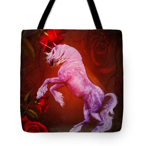 Fiery Unicorn Fantasy Tote Bag
