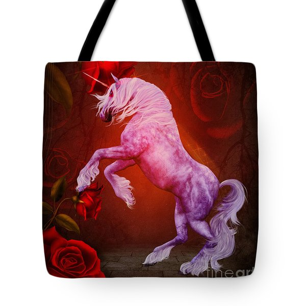 Fiery Unicorn Fantasy Tote Bag