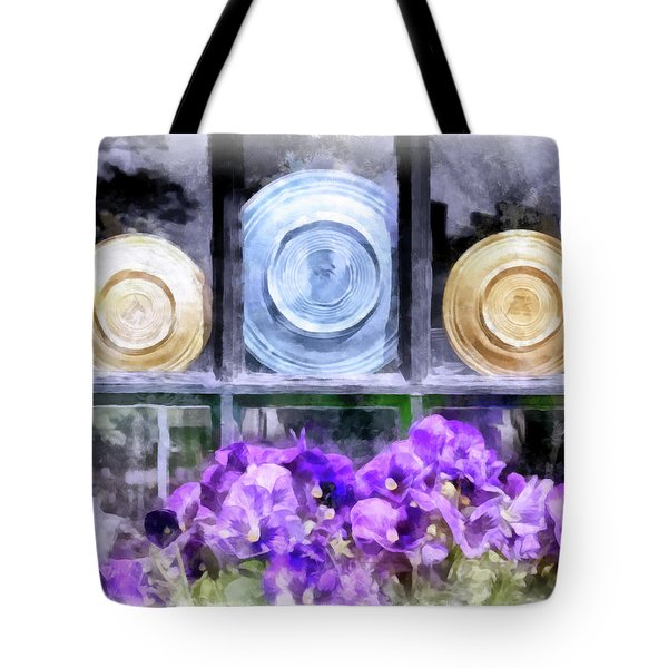 Fiestaware Window Display With Pansies Tote Bag