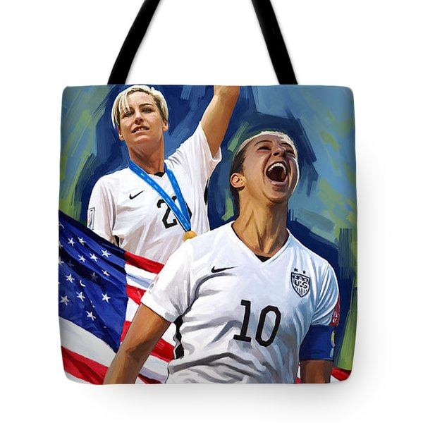 Tote Bag featuring the painting Fifa World Cup U.s Women Soccer Carli Lloyd Abby Wambach Artwork by Sheraz A