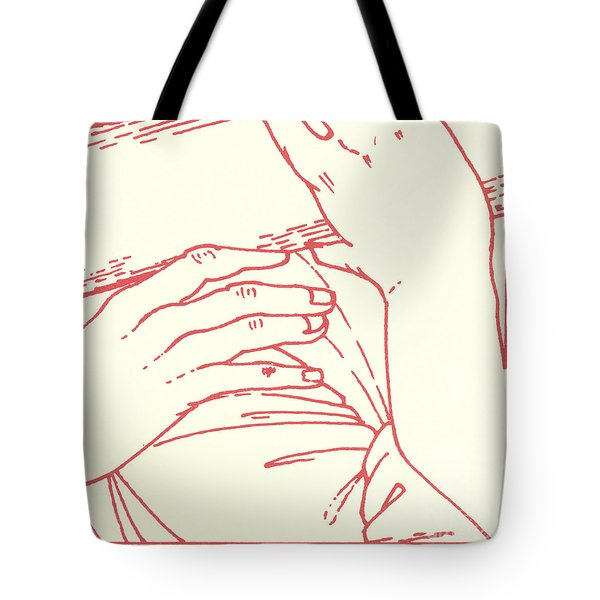 Tote Bag featuring the drawing Fifth Station- Simon Of Cyrene Helps Jesus To Carry His Cross  by William Hart McNichols