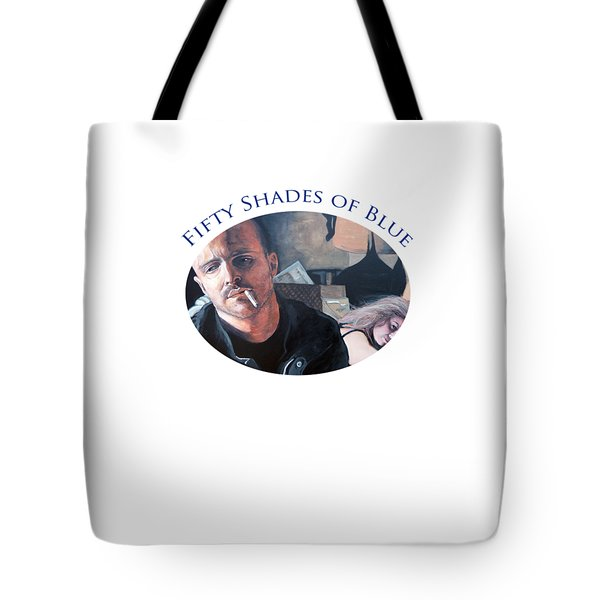 Tote Bag featuring the painting Fifty Shades Of Blue by Tom Roderick