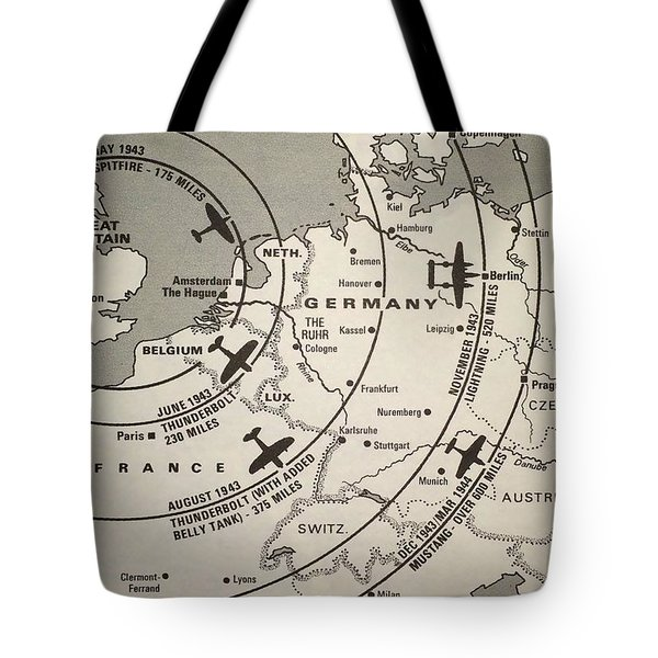 Fighter Escort And Bomber Ranges European Theatre Ww2 Tote Bag