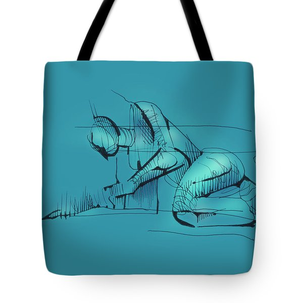 Tote Bag featuring the drawing Figure Vii by Keith A Link