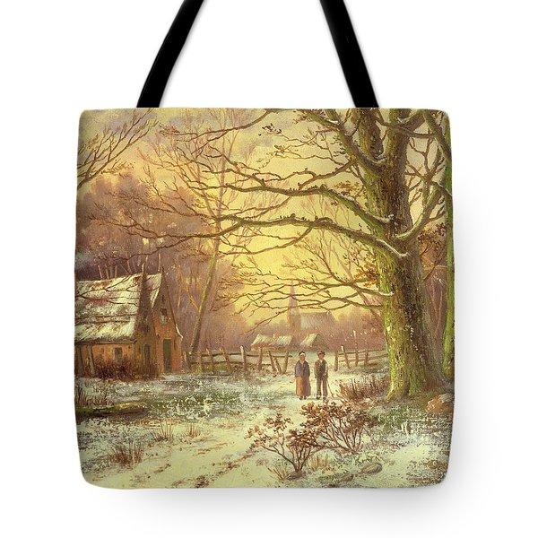 Figures On A Path Before A Village In Winter Tote Bag by Johannes Hermann Barend Koekkoek