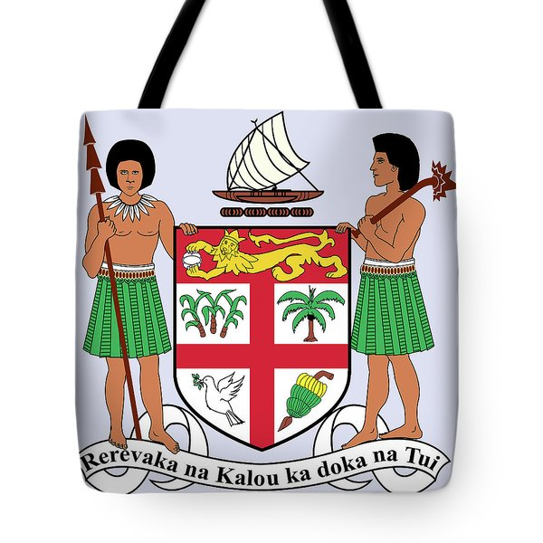 Tote Bag featuring the drawing Fiji Coat Of Arms by Movie Poster Prints