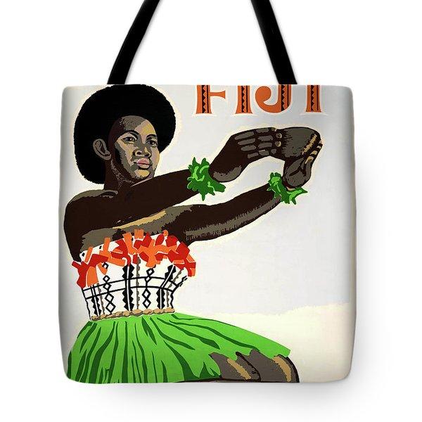 Fiji Restored Vintage Travel Poster Tote Bag