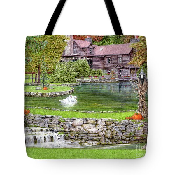 Tote Bag featuring the drawing Fin N Feather At Seven Springs by Albert Puskaric