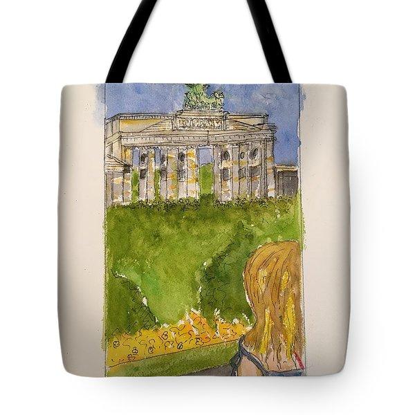Fina At The Brandenburg Gate, Berlin Tote Bag