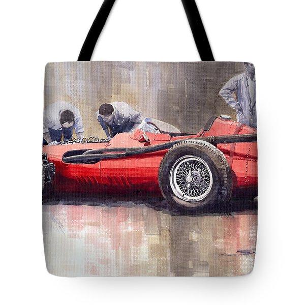 Final Check Before The Start Maserati 250 F 1957 Tote Bag by Yuriy  Shevchuk