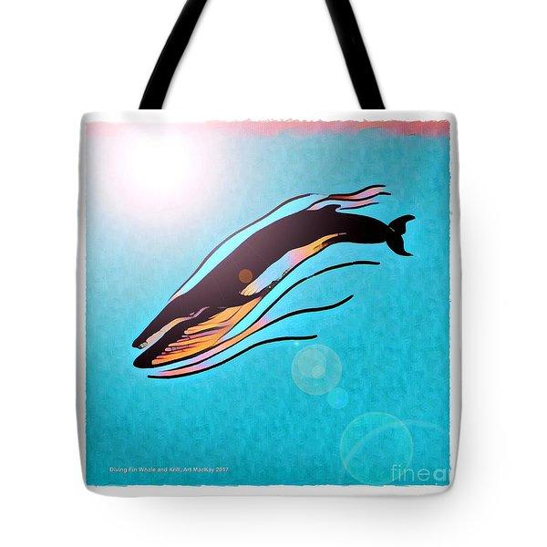 Finback Diving Through Krill Tote Bag