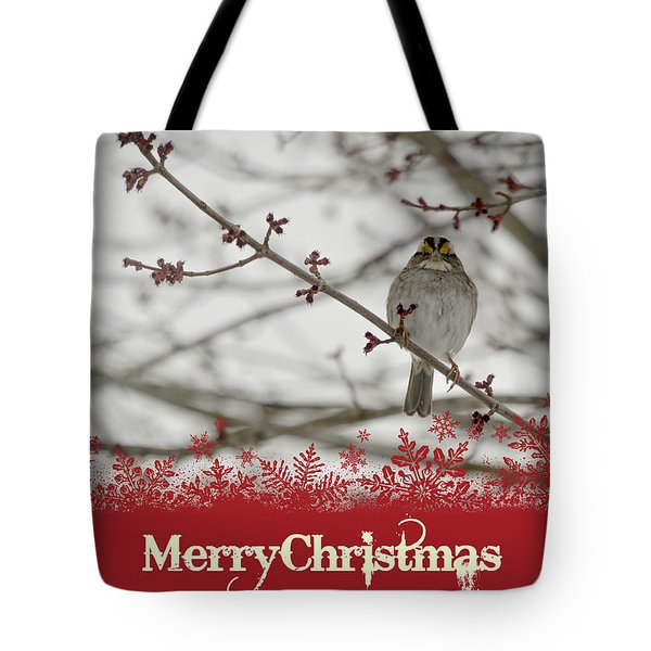 Tote Bag featuring the mixed media Finch Christmas by Trish Tritz