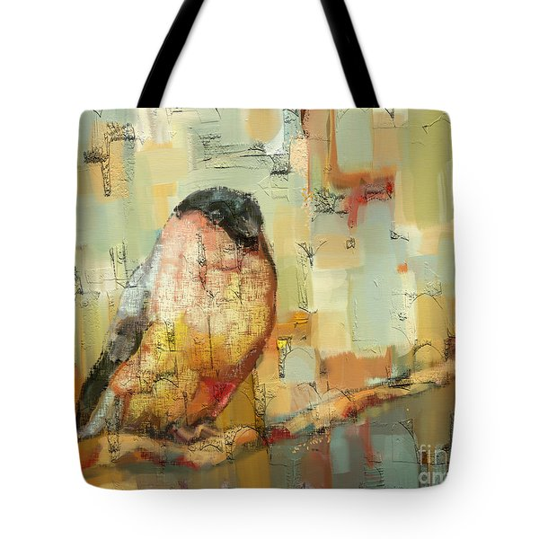 Tote Bag featuring the mixed media Finch Tapestry by Carrie Joy Byrnes