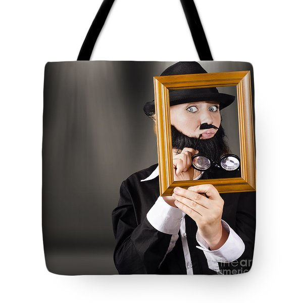 Fine Art Buyer Studying Picture In Modern Gallery Tote Bag