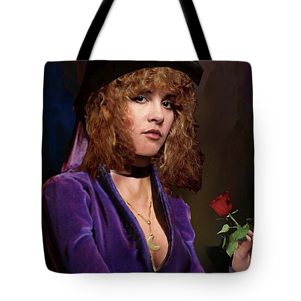 Fine Art Digital Portrait Stevie Nicks Crescent Moon Top Hat Tote Bag