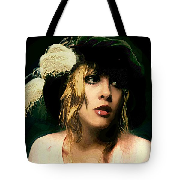 Fine Art Digital Portrait Stevie Nicks Wearing Beret Tote Bag