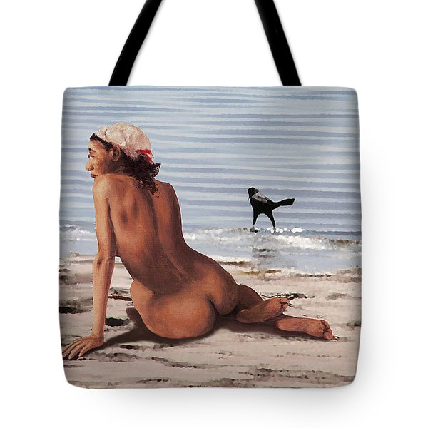 Fine Art Female Nude Multimedia Oil Painting Stacy Sitting Gulf Coast Florida Tote Bag