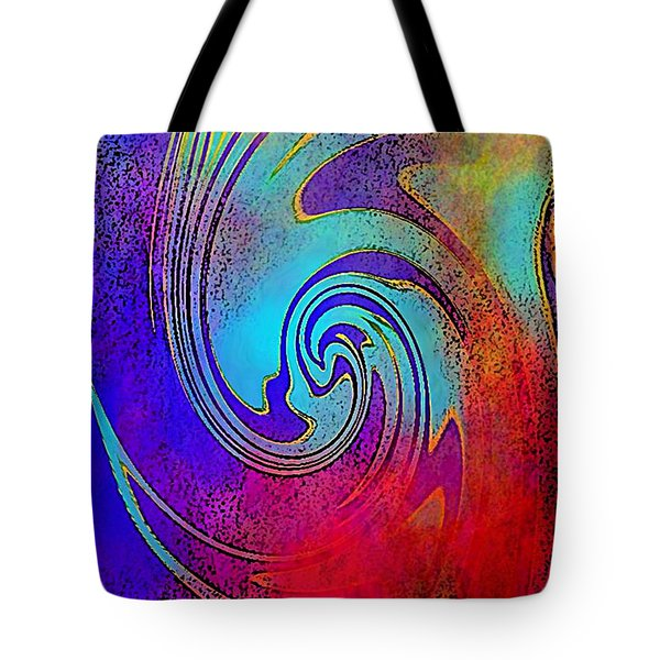 Fine Art Painting Original Digital Abstract Warp 3 Triptych C Tote Bag