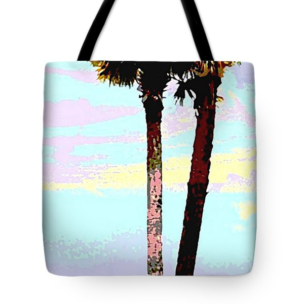 Fine Art Palm Trees Gulf Coast Florida Original Digital Painting Tote Bag