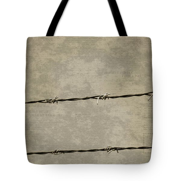 Fine Art Photograph Barbed Wire Over Vintage News Print Breaking Out  Tote Bag