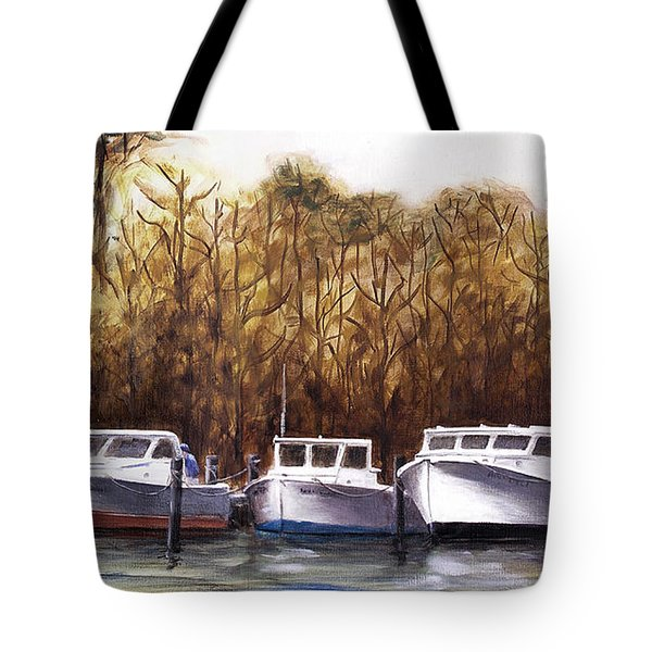 Fine Art Traditional Oil Painting 3 Workboats Chesapeake Bay Tote Bag
