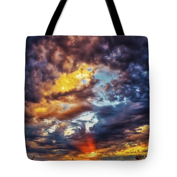 Finger Painted Sunset Tote Bag