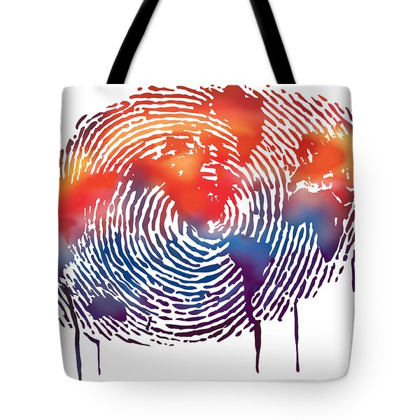 Finger Print Map Of The World Tote Bag