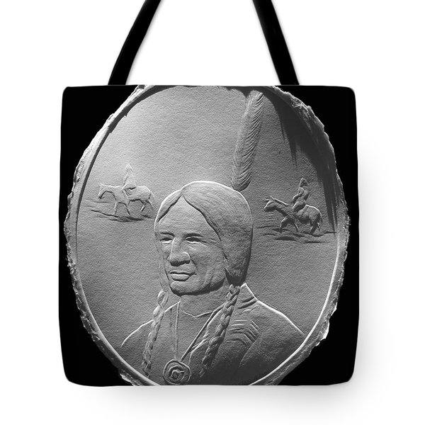 Tote Bag featuring the relief Fingernail Relief Drawing Of American Indian  by Suhas Tavkar
