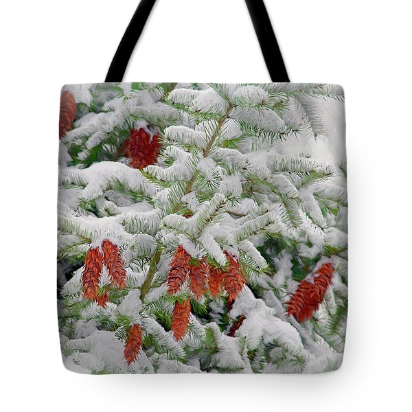 Tote Bag featuring the photograph Fir Cones On White Photo Art by Sharon Talson