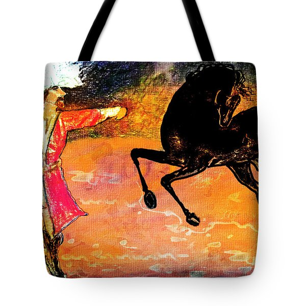 Tote Bag featuring the painting Firat And Shishan Dance I by Anastasia Savage Ealy