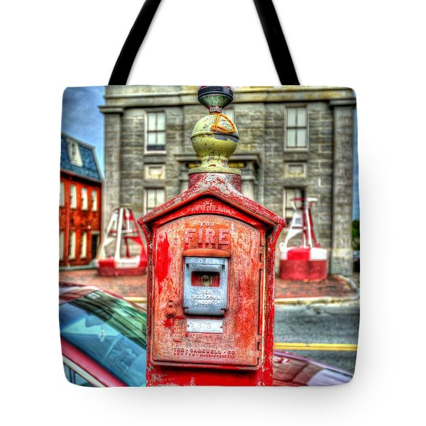 Fire Alarm Box 375 In Painterly Tote Bag