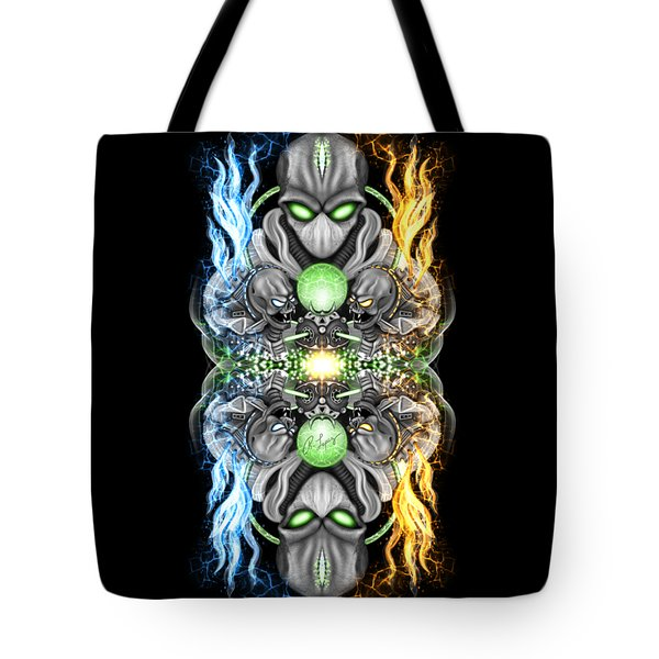 Fire And Ice Alien Time Machine Tote Bag
