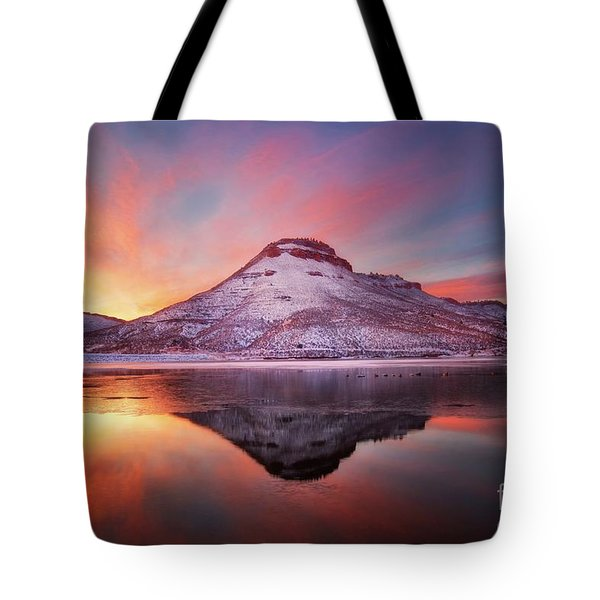 Fire And Ice - Flatiron Reservoir, Loveland Colorado Tote Bag by Ronda Kimbrow