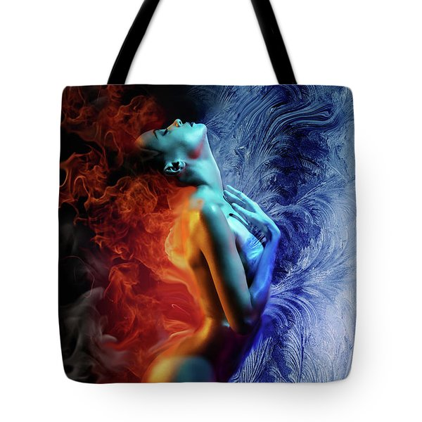 Fire And Ice Tote Bag by Lilia D