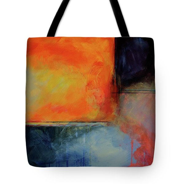 Tote Bag featuring the painting Fire And Rain by Jillian Goldberg