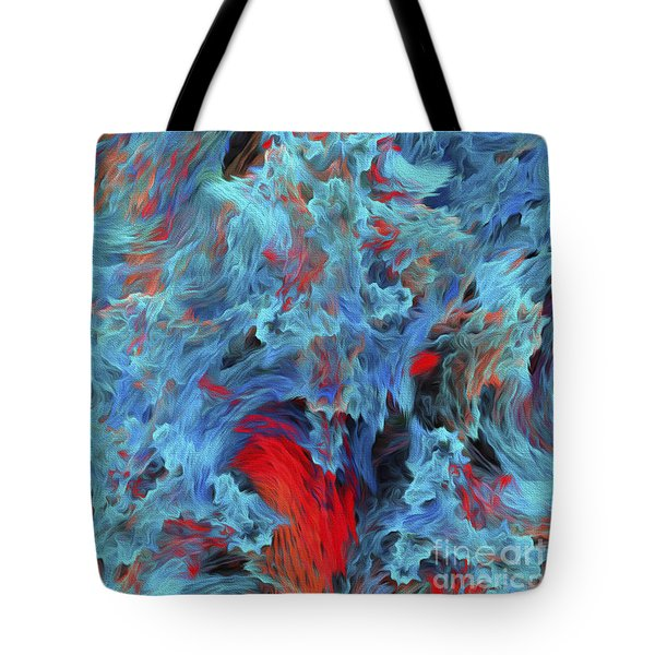 Tote Bag featuring the digital art Fire And Water Abstract by Andee Design