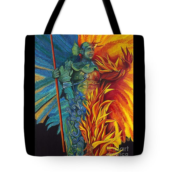 Fire And Water Carnival Figure Tote Bag by Patty Vicknair