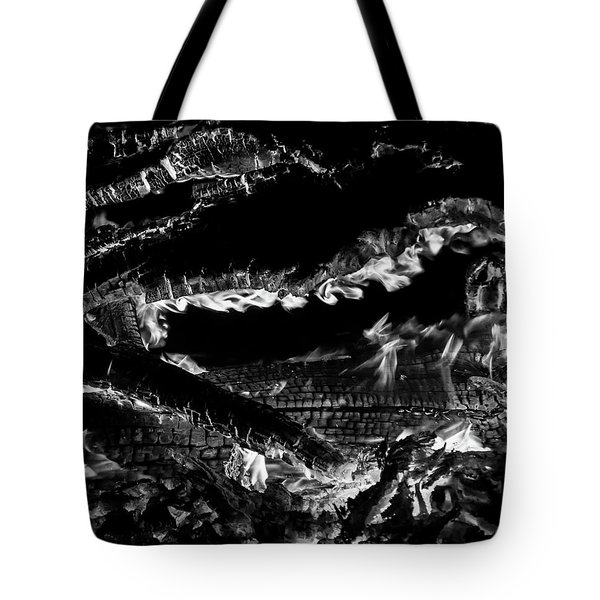 Tote Bag featuring the photograph Fire Black And White by Britt Runyon
