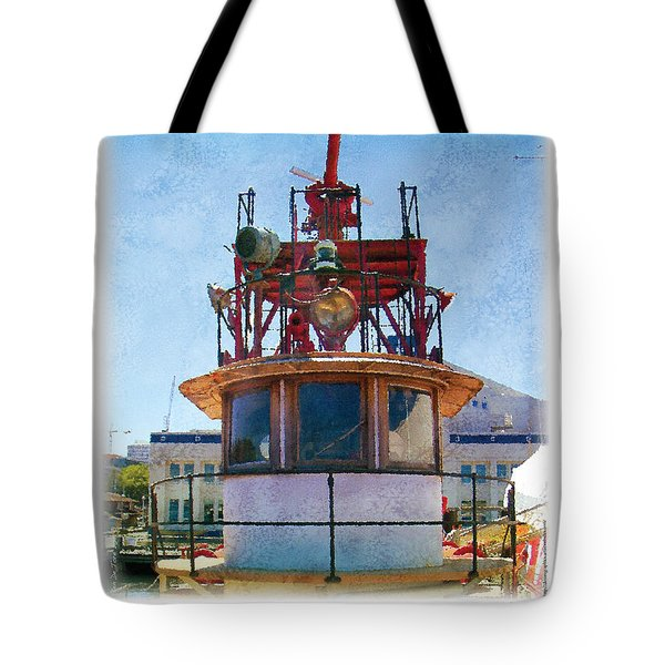 Tote Bag featuring the painting Fire Boat by Kenneth De Tore