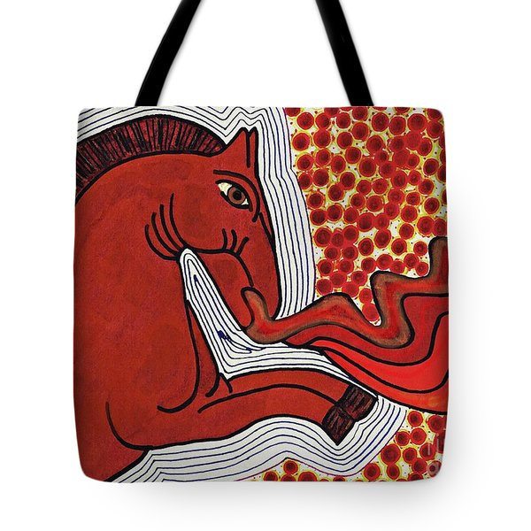 Fire Breathing Horse Tote Bag by Sarah Loft