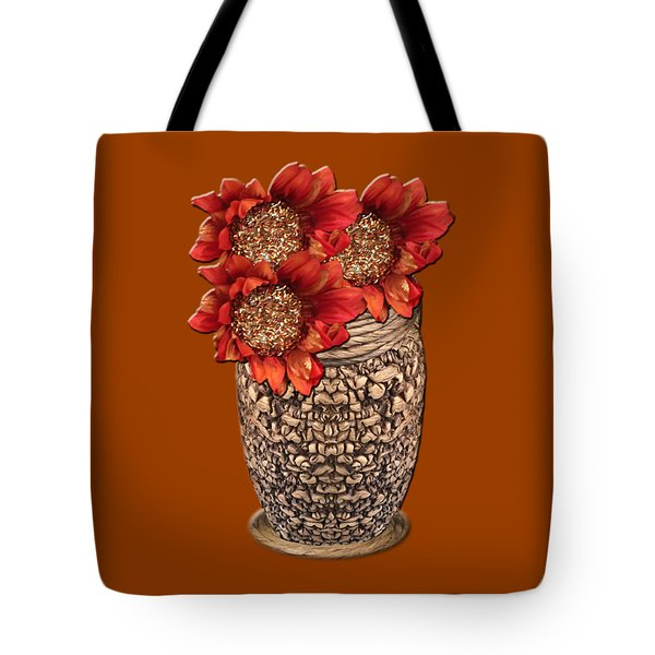 Fire Brick Flora Vase Tote Bag