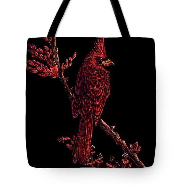 Fire Cardinal Tote Bag