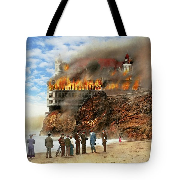 Tote Bag featuring the photograph Fire - Cliffside Fire 1907 by Mike Savad