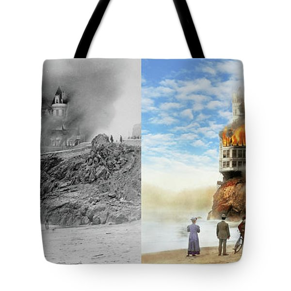 Tote Bag featuring the photograph Fire - Cliffside Fire 1907 - Side By Side by Mike Savad