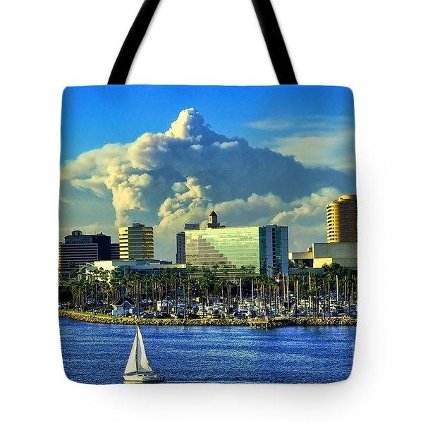 Tote Bag featuring the photograph Fire Cloud Over Long Beach by Mariola Bitner