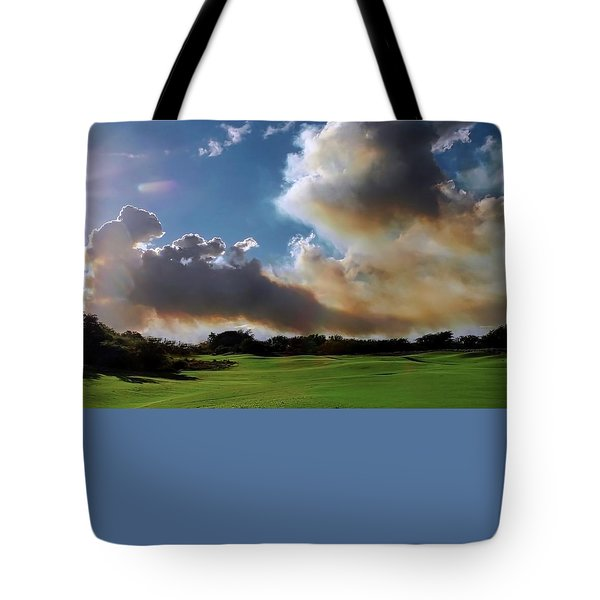 Fire Clouds Over A Golf Course Tote Bag