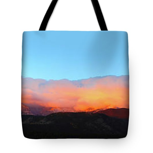Tote Bag featuring the photograph Fire Clouds - Panorama by Shane Bechler