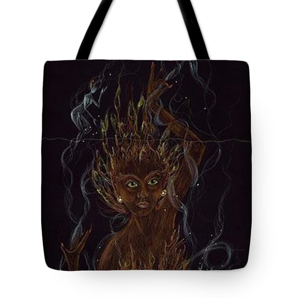 Tote Bag featuring the drawing Fire by Dawn Fairies