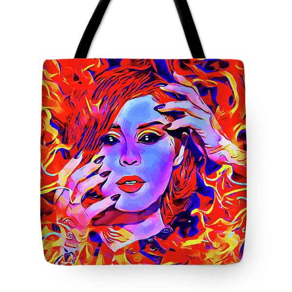 Fire Demon Woman Abstract Fantasy Dark Goth Art Tote Bag