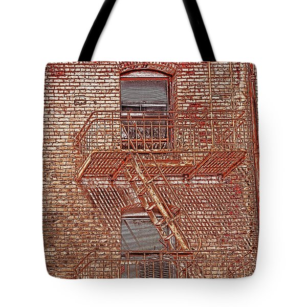 Tote Bag featuring the photograph Fire Escape by Marie Leslie